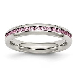 Stainless Steel 4mm October Pink CZ Ring
