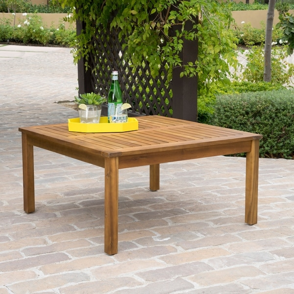 Perla Outdoor Acacia Wood Coffee Table by Christopher Knight Home. Opens flyout.