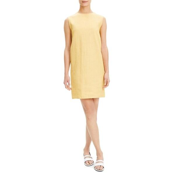 Theory Womens Casual Dress Linen Sleeveless - Orange Blossom