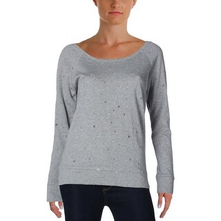 Aqua Womens Holey Sweatshirt Distressed Long Sleeve