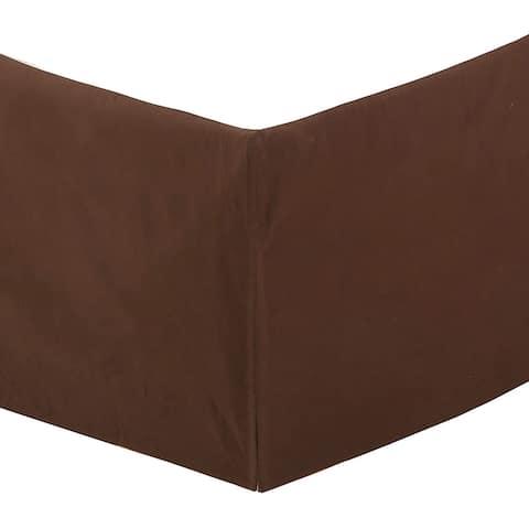 "Dark Brown Bed Skirt Cotton Twill Pleated Dust Ruffle w/ Split Corners Tailored 16"" Drop"