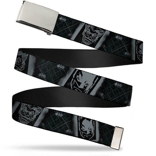Blank Chrome Buckle Batman & Joker Spray Stencil Barbed Wire Black Web Belt