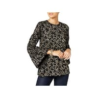 Michael Kors Womens Blouse Star-Print Bell-Sleeve