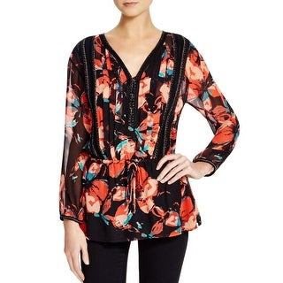 Ella Moss Womens Blouse Silk Embellished