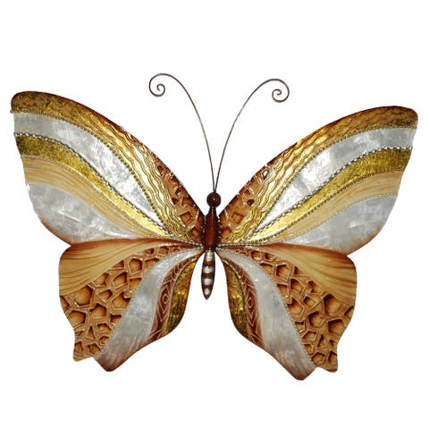 Handmade Wall Butterfly with Copper and Pearl (Philippines) - 18 x 1 x 13