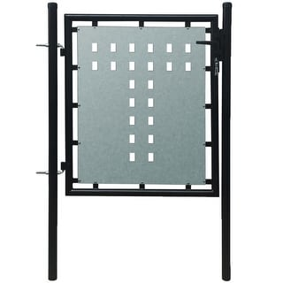 Link to vidaXL Single Door Fence Gate Galvanised Steel 3.28ftx2.46ft Black Similar Items in Yard Care