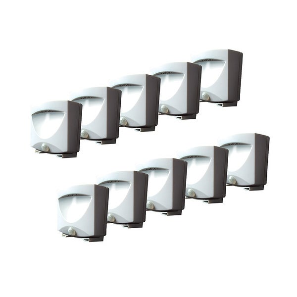Maxsa White Battery Powered Motion Activated Led Outdoor Night Light Pack Of 10