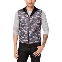 INC Black Mens Size Large L Camo Print Hooded Zip Vest Jacket