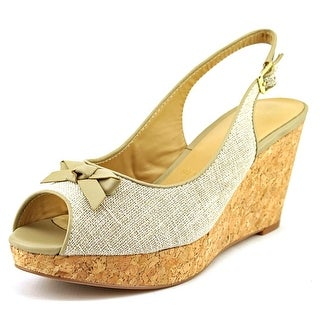 Trotters Allie Open Toe Canvas Wedge Sandal