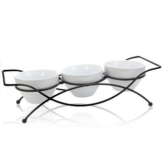 Link to Gibson Gracious Dining 4 pc Serving Set with Metal Rack in White Similar Items in Serveware