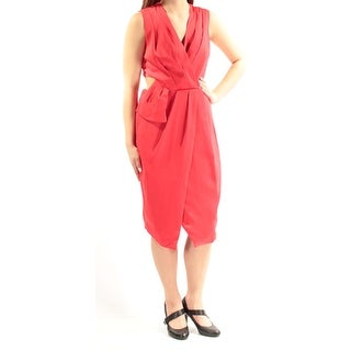 RACHEL ROY $139 Womens New 1058 Red Cut Out Sleeveless Faux Wrap Dress 8 B+B