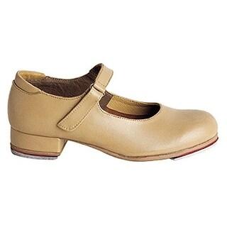 Sansha Tan Leather Velcro Strap Tap Dance Shoe Little Girls 6M-5M