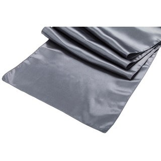 """Satin Table Runner Approx. 14""""x108""""  - Pewter, 1 Piece"""
