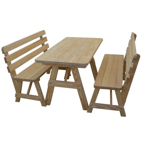 Pine 5' Picnic Table with 2 Backed Benches