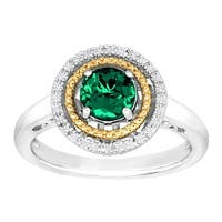 3/4 ct Created Emerald Halo Ring with Diamonds in Sterling Silver & 14K Gold - Green