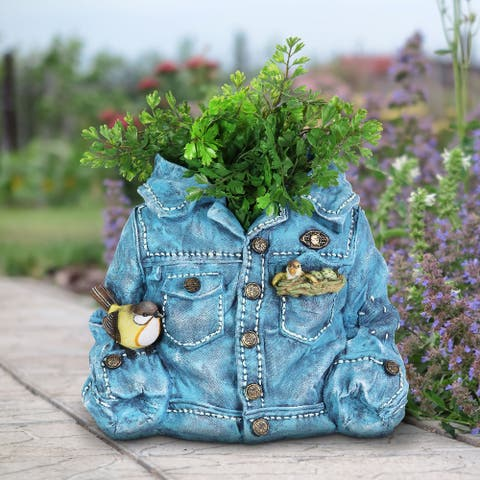 Exhart Hand Painted Blue Jean Jacket with Birds Resin Planter, 14.5 by 11.5 Inches