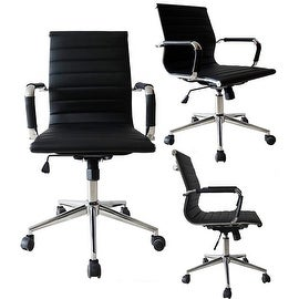 2xhome Black Executive Ergonomic Mid Back Office Chair Ribbed PU Leather Adjustable for Manager Conference Computer Desk