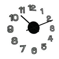 Black and White Harlequin Diamond Pattern Peel and Stick Wall Clock 19 Inch
