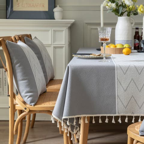 Enova Home High Quality Rectangle Cotton and Linen Tablecloth with Tassels (Grey)