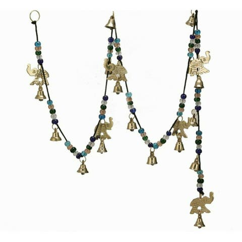 Large Wind Chimes Outdoor Relaxing Tones Brass Elephant Bells on String - 56 inches Long