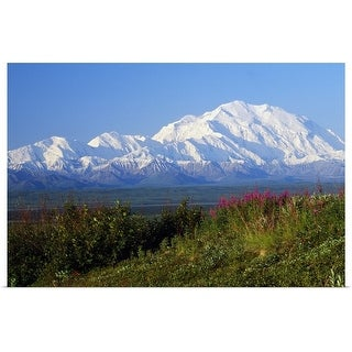 """""""View of snow-covered Mount McKinley from Denali National Park, Alaska"""" Poster Print"""