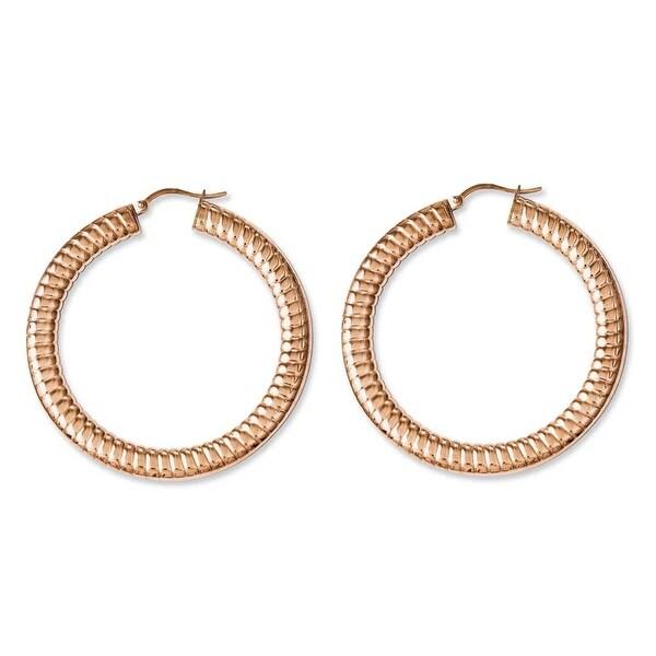 Chisel Stainless Steel Pink IP-plated Textured Hollow Hoop Earrings