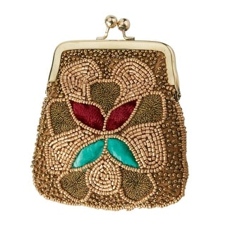 Women's Embroidered Coin Purse - Gold - One size