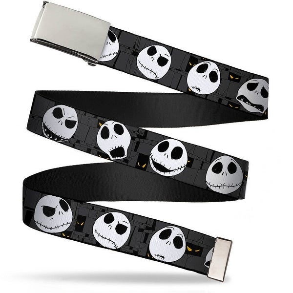 "Blank Chrome 1.0"" Buckle Nightmare Before Christmas Jack Expressions Gray Web Belt 1.0"" Wide - S"