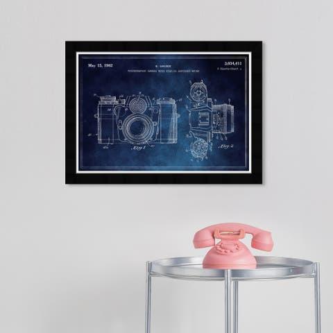 Wynwood Studio 'Sauer Camera' Entertainment and Hobbies Blue Wall Art Framed Print