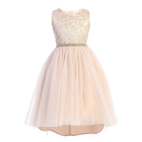 Sweet Kids Girls Pale Pink Embroidered Tulle Overlay Christmas Dress