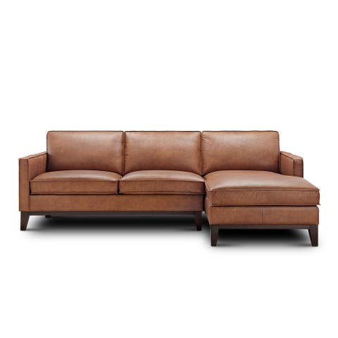 Oakburn Leather Sofa Chaise Right Arm Facing with Wood Base