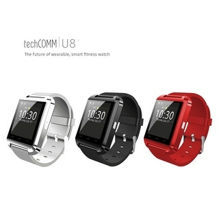 TechComm U8 Bluetooth Smartwatch with Hands-Free Phone Calling, Sleep Monitor, Pedometer, Bluetooth Music and Remote Camera