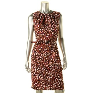 Nine West Womens Berry Harvest Crepe Pleated Wear to Work Dress