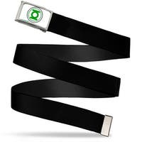 Green Lantern Logo (In Circle) Fcg White Green Chrome Black Webbing Web Belt