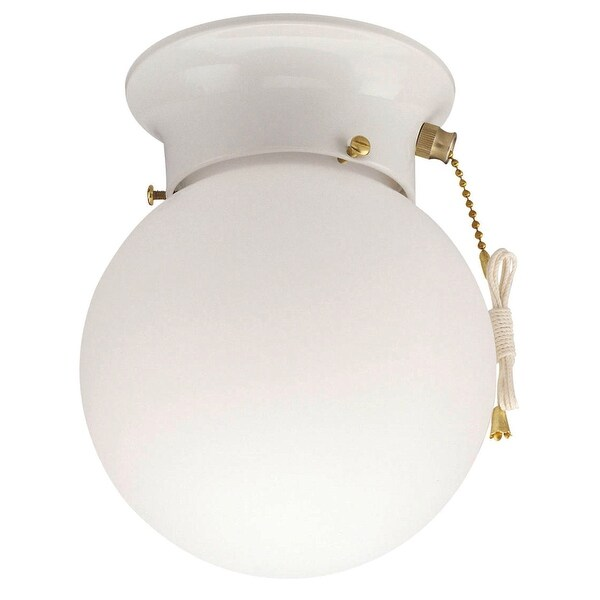 Westinghouse 66680 Globe Glass Ceiling Light Fixture With Pull Chain, White