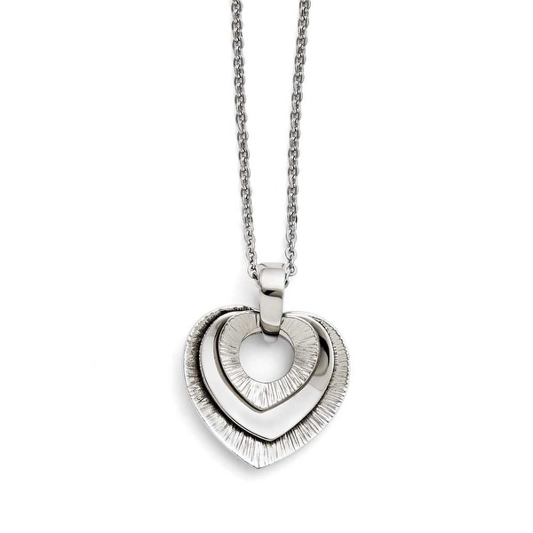 Chisel Stainless Steel Heart Three Piece Polished Necklace (2 mm) - 20 in