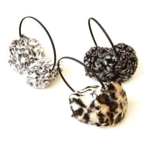 Women's Soft Faux Fur Winter Leopard Earmuffs - One Size
