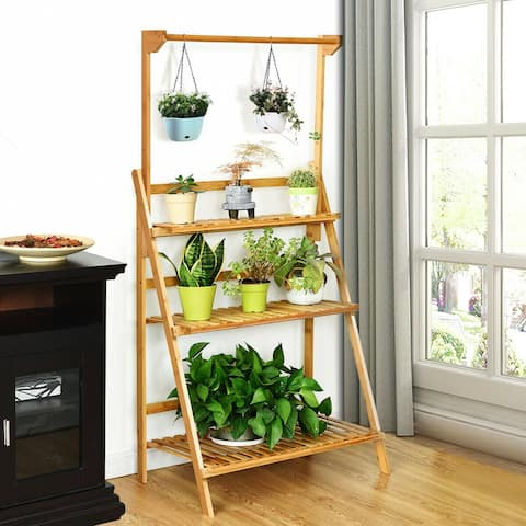 Costway 3 Tier Bamboo Hanging Folding Plant Shelf Stand Flower Pot - 27.5''x16''x47.5''-56.5''(LxWxH)