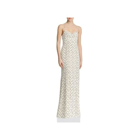 FAME AND PARTNERS Ivory Spaghetti Strap Full-Length Dress 0