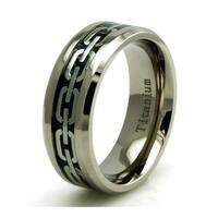 Titanium Chain Link Inlay Design Ring