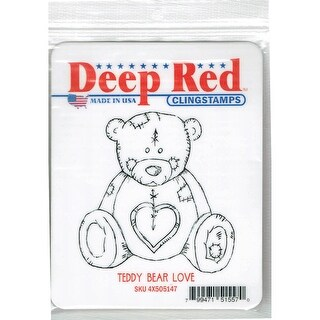 Deep Red Stamps Teddy Bear Love Rubber Cling Stamp - 2.8 x 3