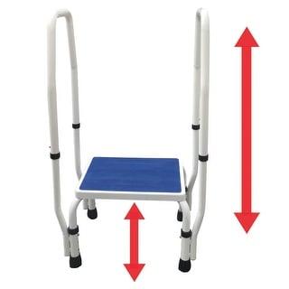AdjustaStep(tm) 2-in-1 DoubleSafe Deluxe Step Stool / Footstool with Dual Handle / Handrail Height Adjustable
