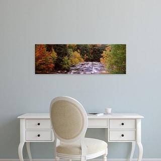 Easy Art Prints Panoramic Image 'River, Ausable River, Adirondack Mountains, Wilmington, Essex County' Canvas Art