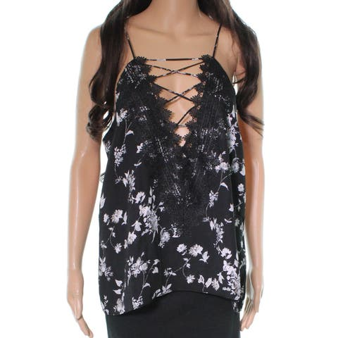 WAYF Black Womens Size Small S Strappy Camisole Floral Print Top