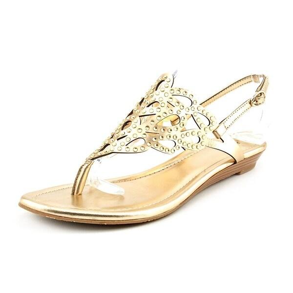 Alfani Nicolett Women Open Toe Canvas Gold Wedge Sandal