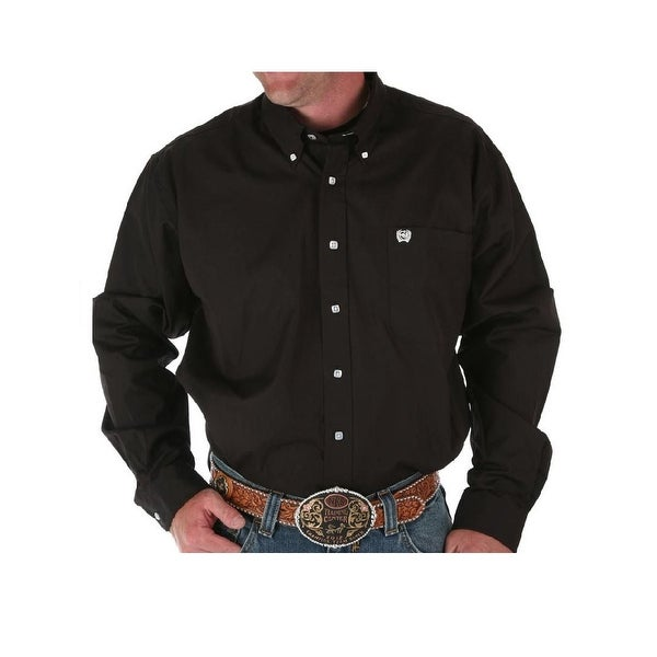 1ed44bc004 Shop Cinch Western Shirt Mens Garner L S Solid Pinpoint Black - Free  Shipping On Orders Over  45 - Overstock - 15406301