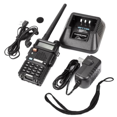 "1.5"" LCD 5W Dual Band Walkie Talkie With 1-LED Flashlight - Black"
