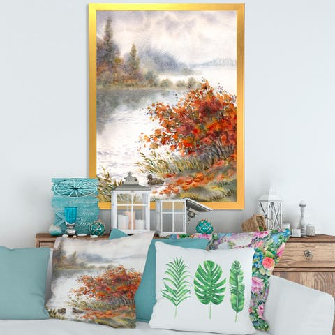 Designart 'View of The Lake In Autumn' Traditional Framed Art Print