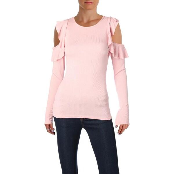 Aqua Womens Pullover Top Ruffled Cold Shoulder