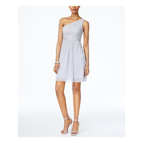 ADRIANNA PAPELL Gray Sleeveless Above The Knee Dress 10